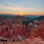 The sun breaks over the horizon as seen at Bryce Canyon National Park